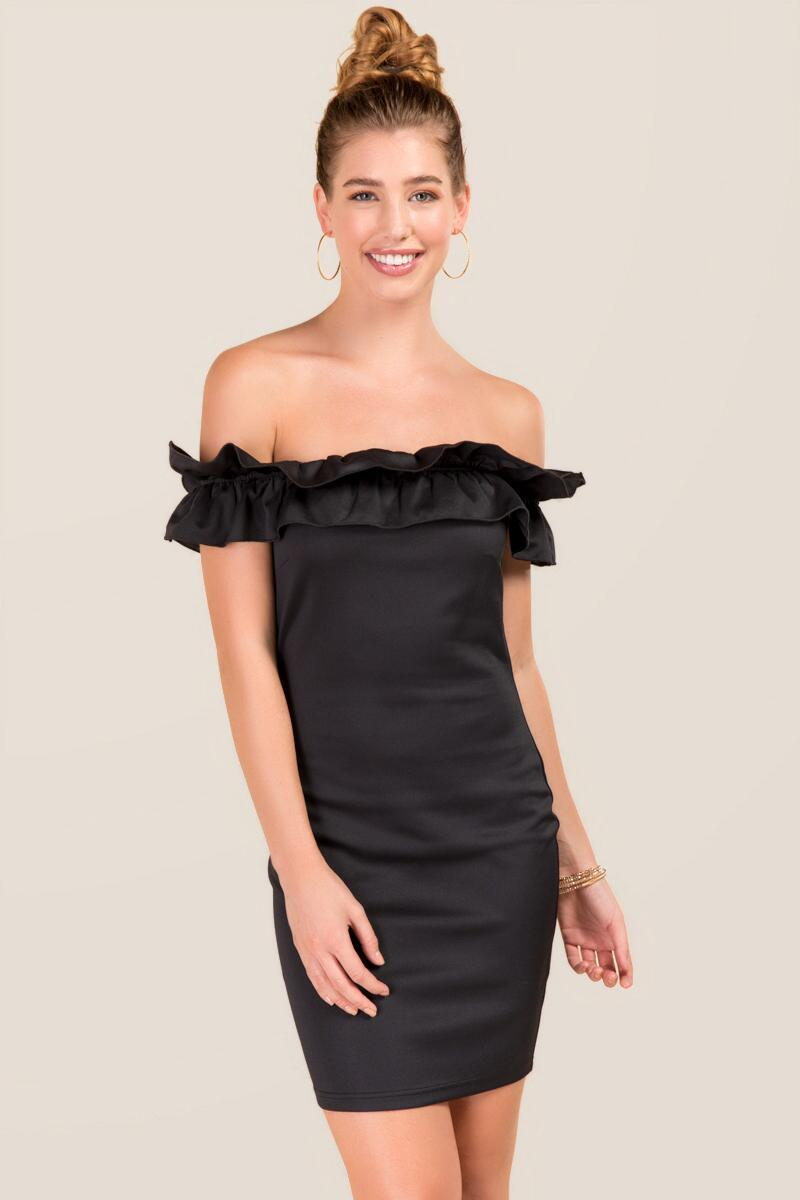 Tahilia Ruffle Off The Shoulder Bodycon Dress