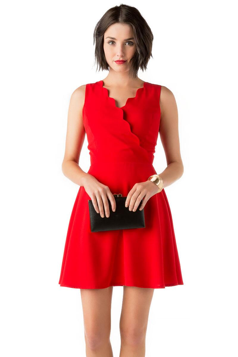 Dorothy Scalloped Dress-  red-cl