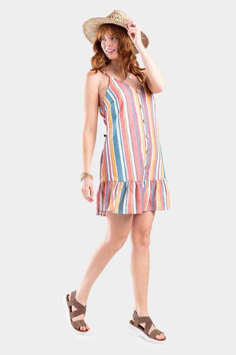 Kay Stripe Button Dress- Multi
