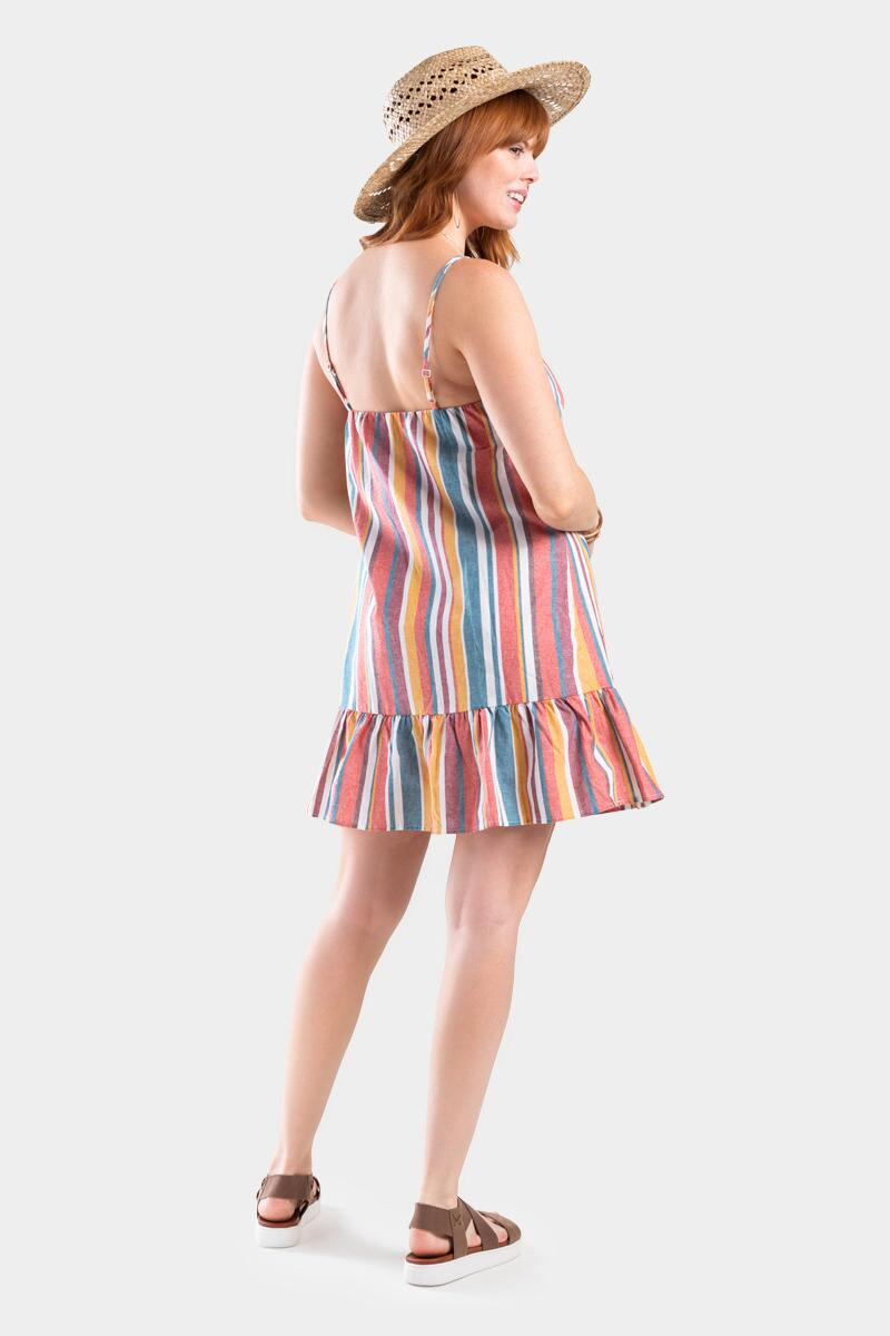 Kay Stripe Button Dress- Multi 2