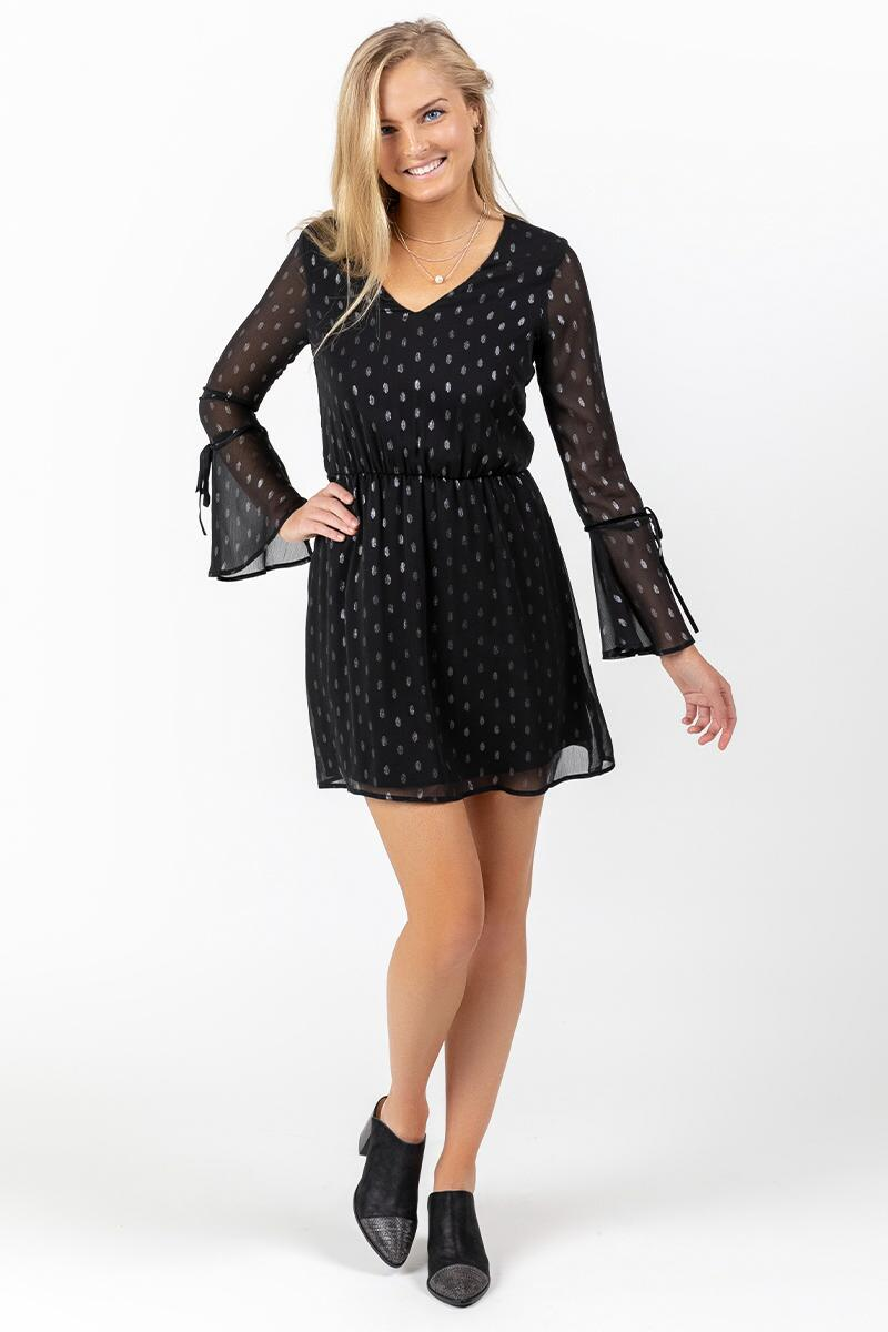 Paloma Sheer Sleeve Polka Dot Dress-  blk-cl