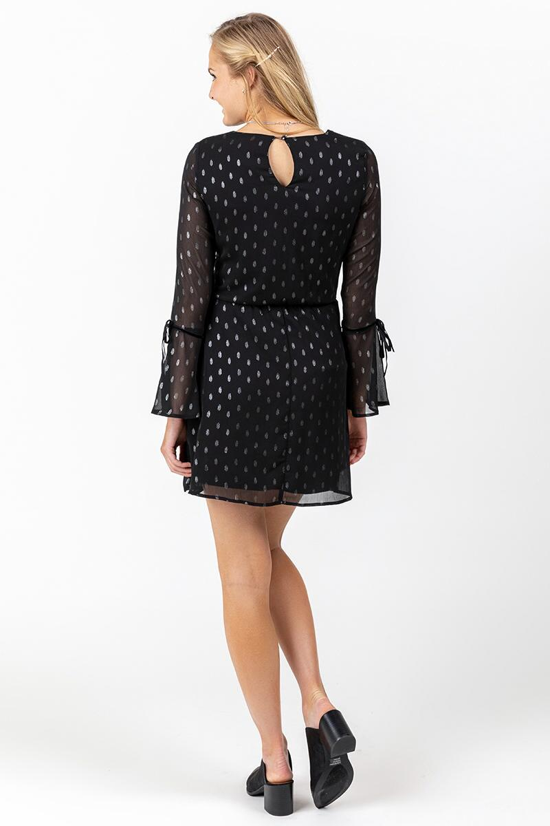 Paloma Sheer Sleeve Polka Dot Dress-  blk-cl2