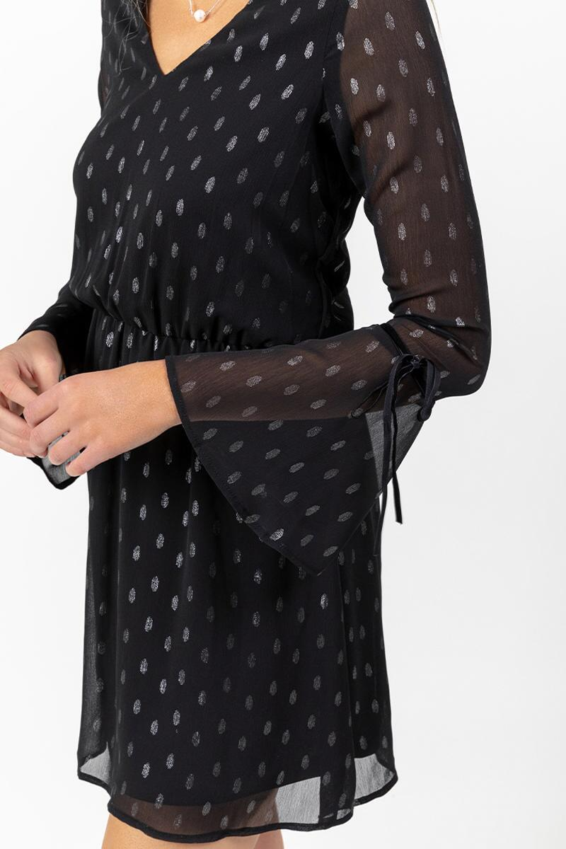 Paloma Sheer Sleeve Polka Dot Dress-  blk-cl4