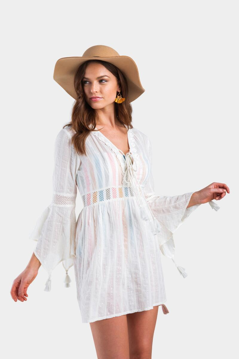 Ares Ruffle Crochet Swim Cover-Up