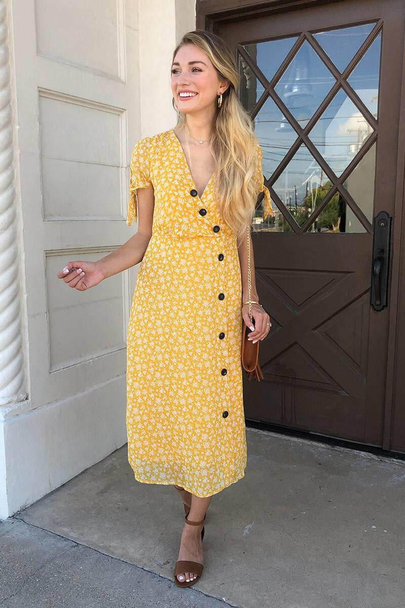 Havana Floral Midi Dress-Sunshine
