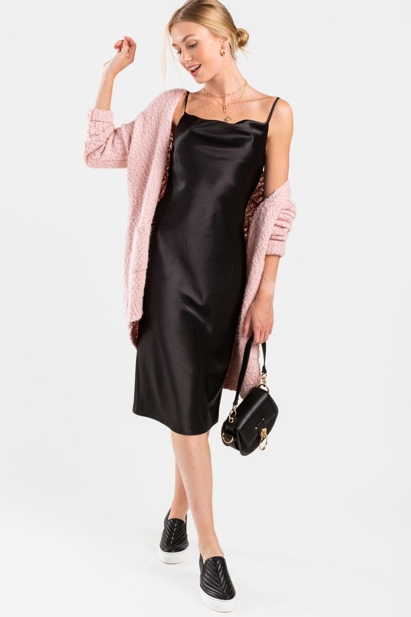 Carlotta Satin Cowl Neck Midi Dress