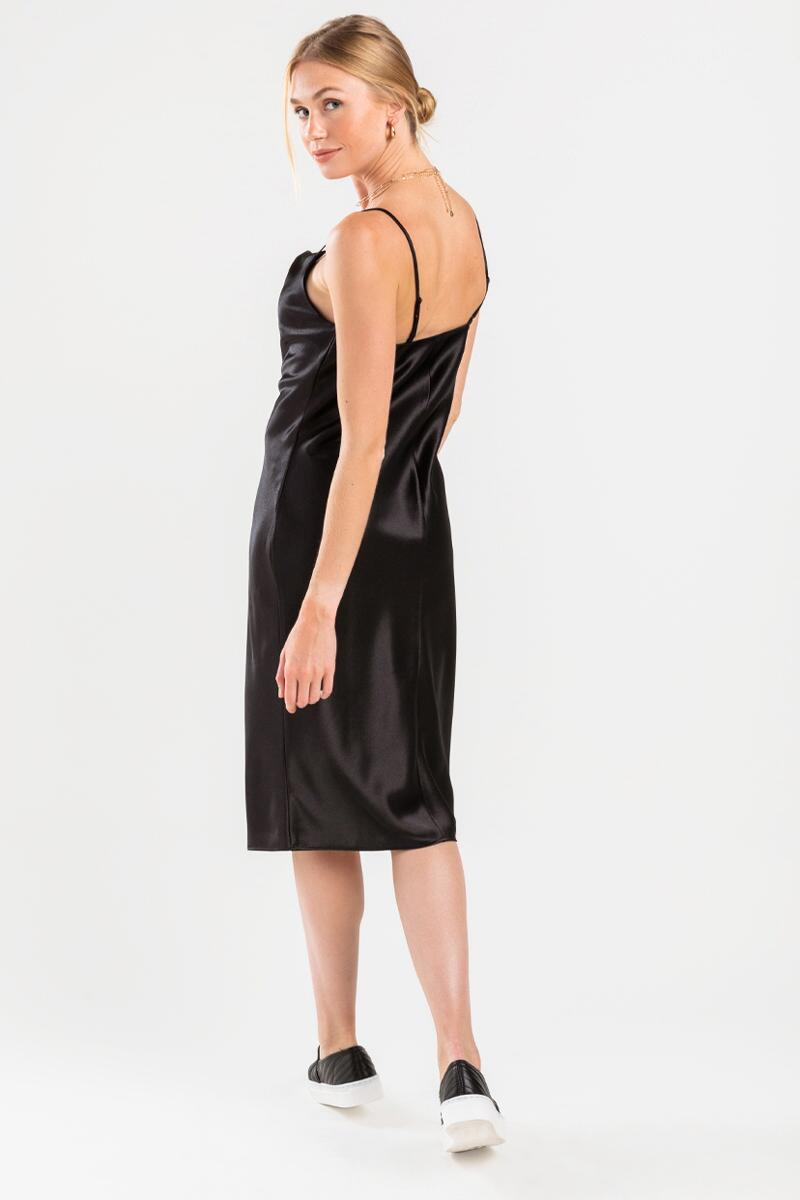 Carlotta Satin Cowl Neck Midi Dress- Black 2