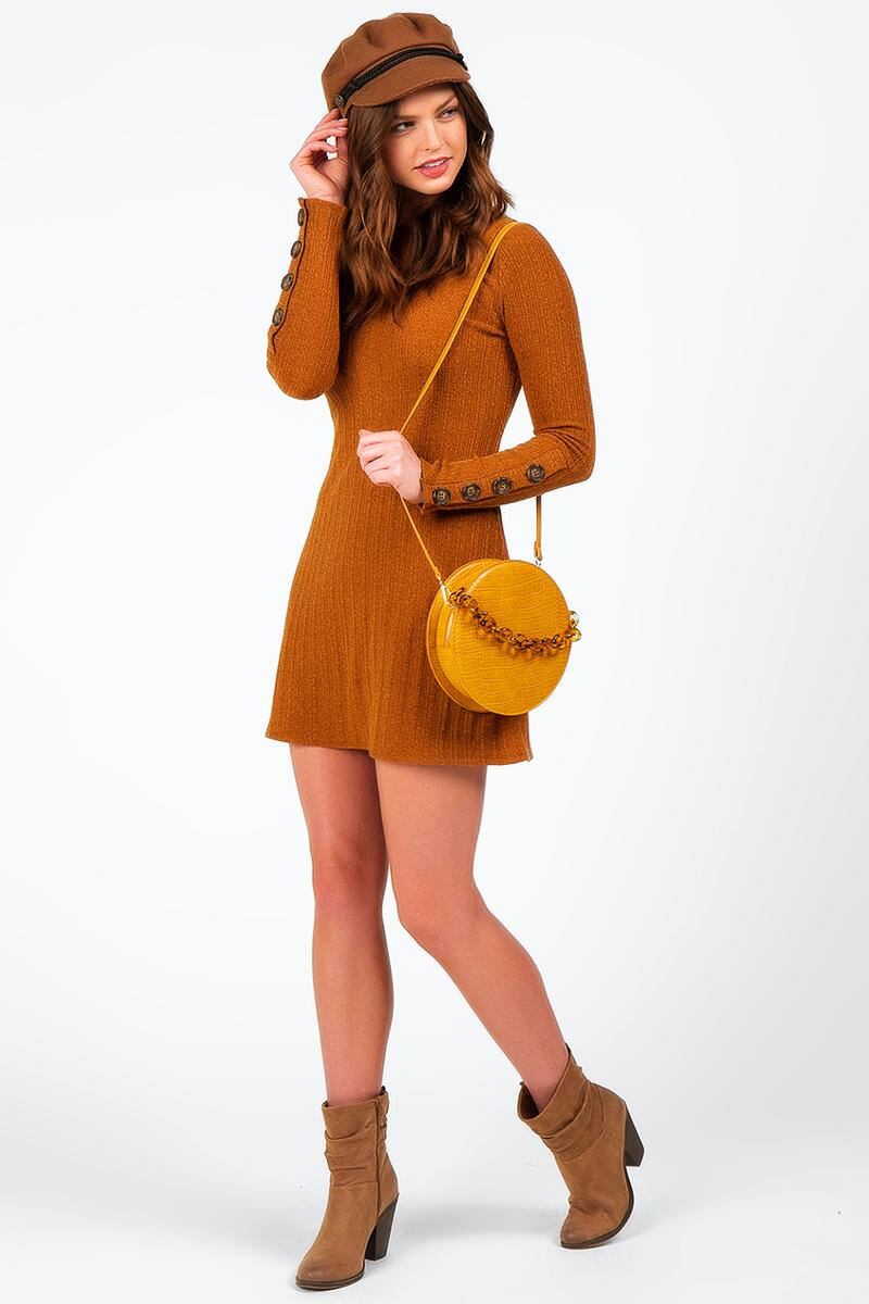 Dailyn Button Sleeve Sweater Dress-  gold-cl