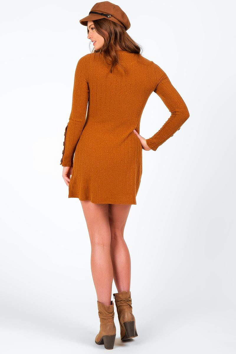 Dailyn Button Sleeve Sweater Dress-  gold-cl2