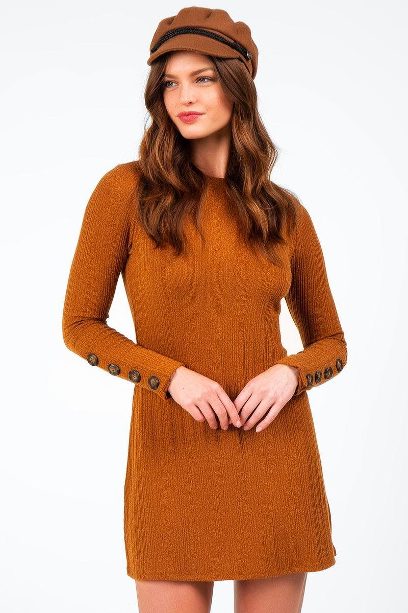 Dailyn Button Sleeve Sweater Dress-  gold-cl3