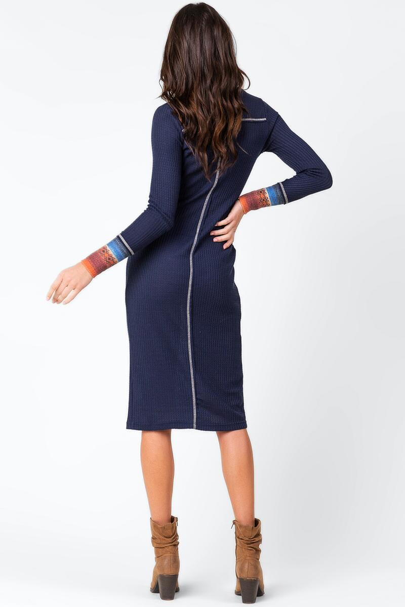 Gage Funnel Neck Midi Dress-  blue-cl2