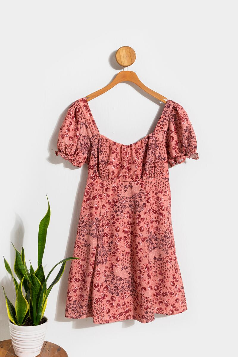 Cindy Puff Sleeve Floral Babydoll Dress- Pink