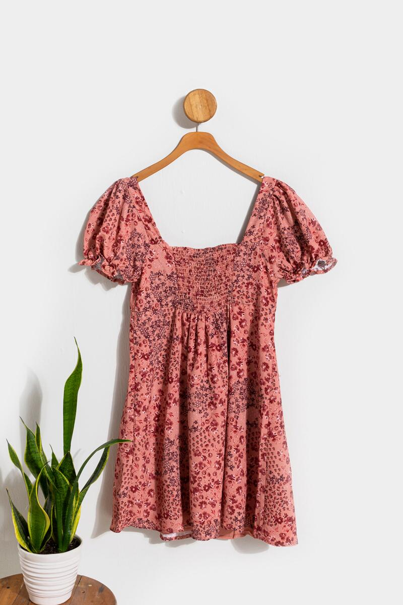 Cindy Puff Sleeve Floral Babydoll Dress- Pink 2