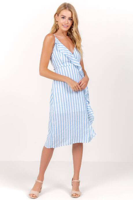 Gloria Ruffle Stripe Wrap Dress