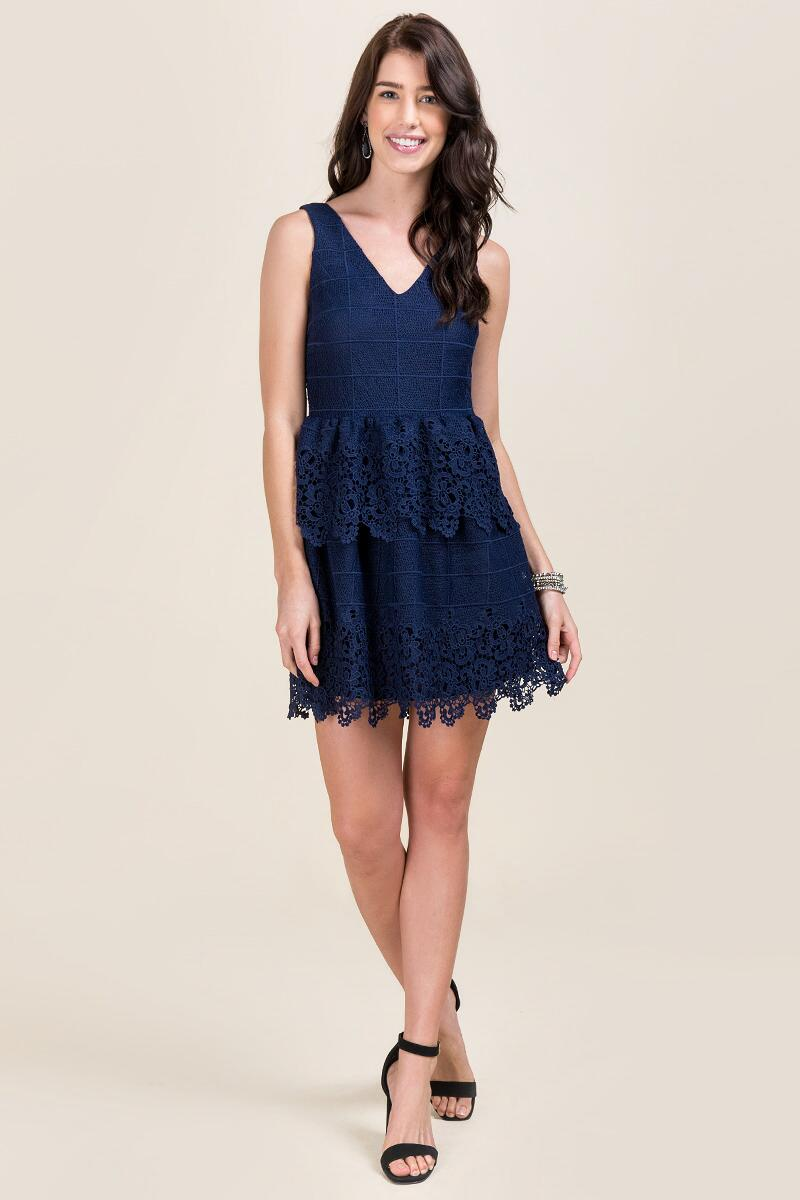 Jeslyn Scalloped Lace Dress-  navy-clmodel
