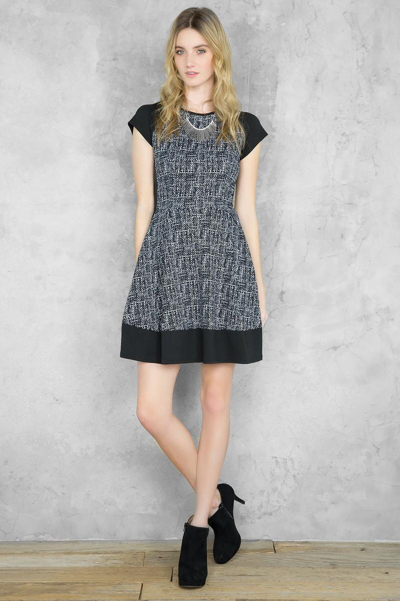 Marcia Textured Dress-  bkw-clmodel