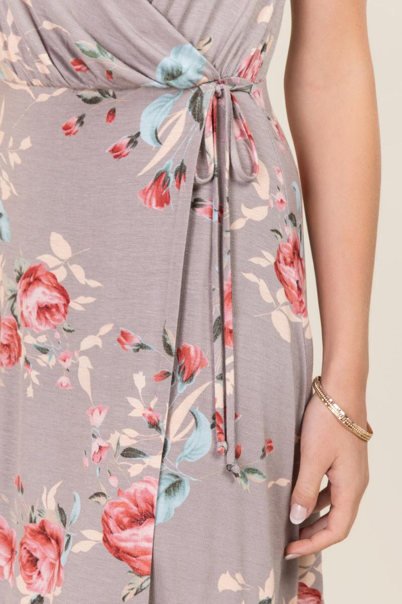Phoebe Floral Wrap Dresses-  gray-clalternate