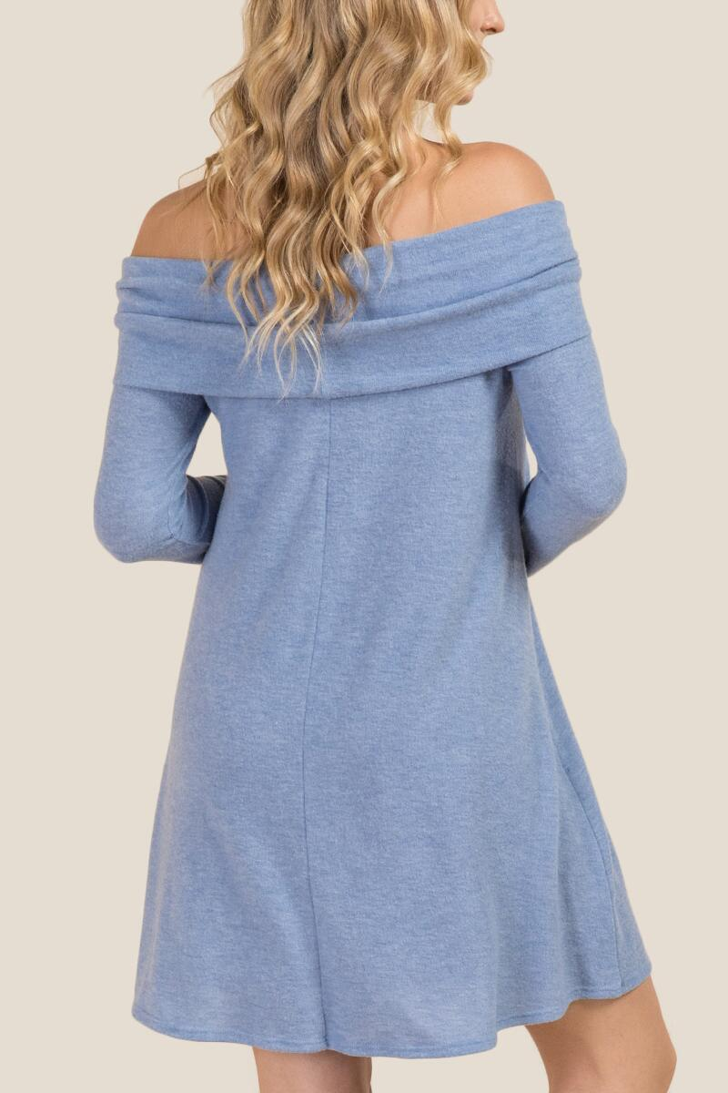 Izzie Off Shoulder Hacci Knit Dress-  oxblu-clback