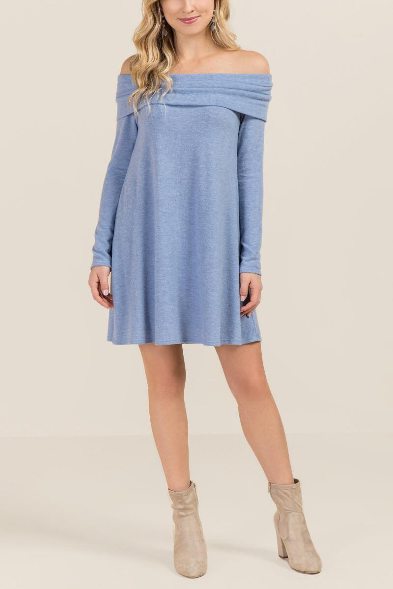 Izzie Off Shoulder Hacci Knit Dress-  oxblu-clmodel