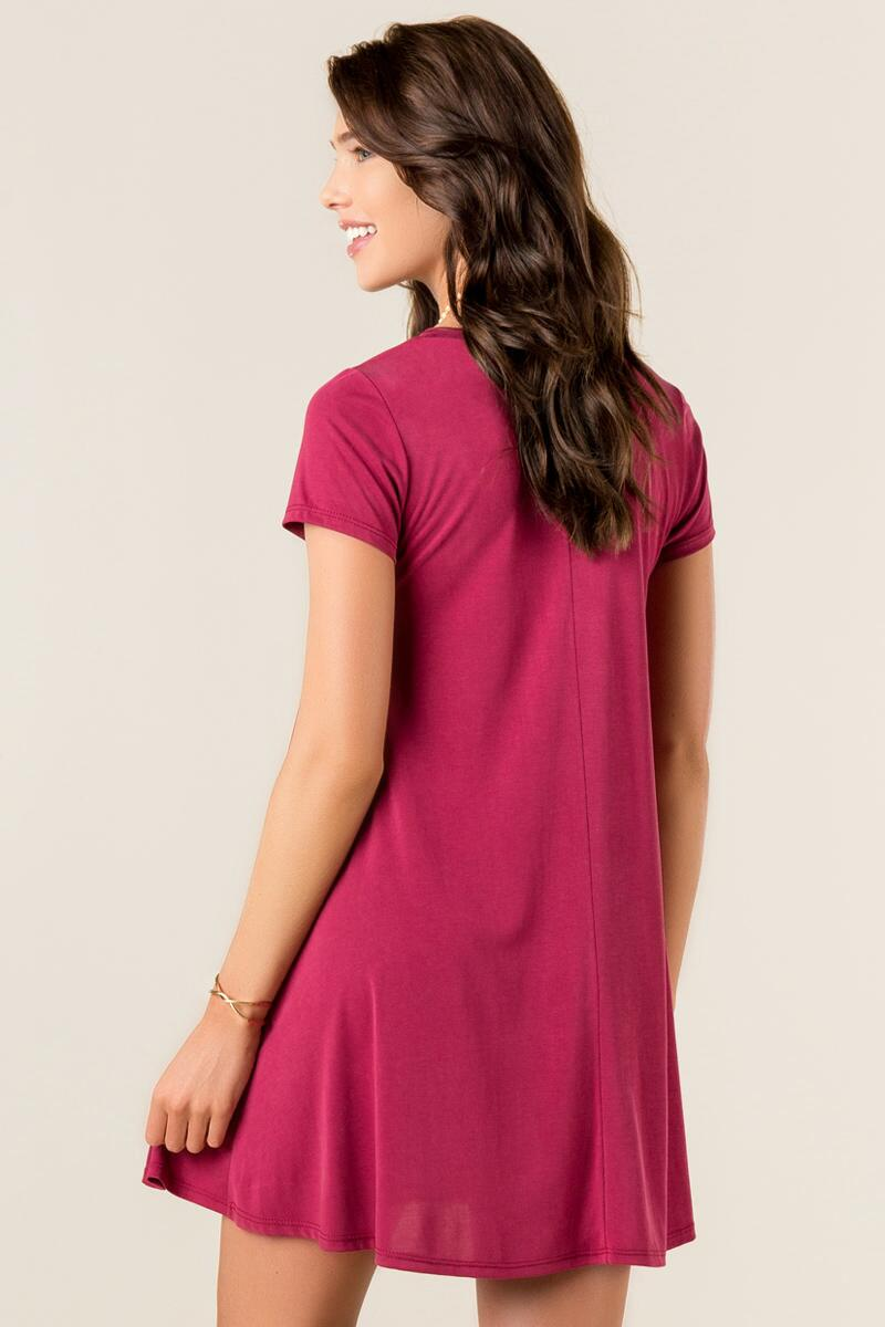 Delia Knit Shift Dress-  wine-clback