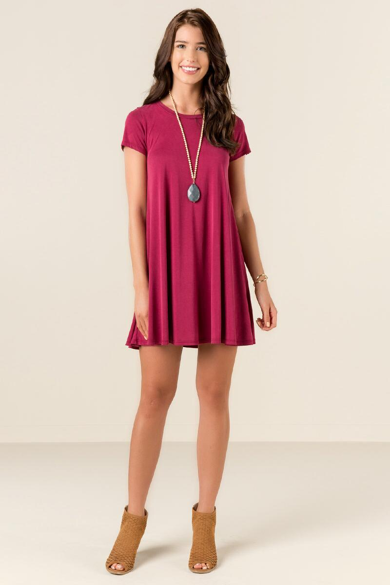 Delia Knit Shift Dress-  wine-clmodel
