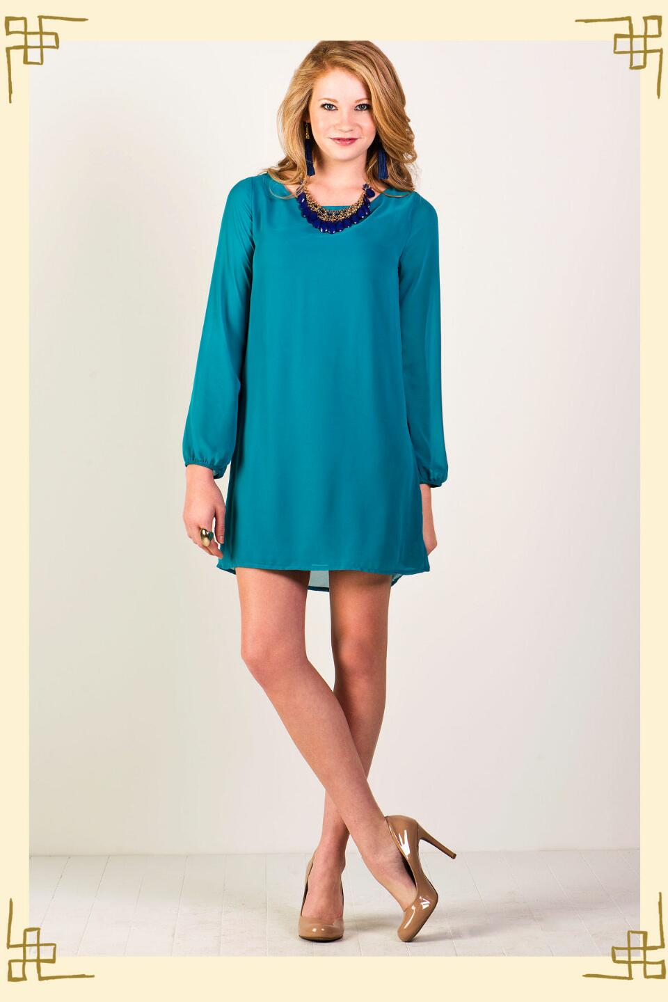 Lydia Shift Dress-  teal