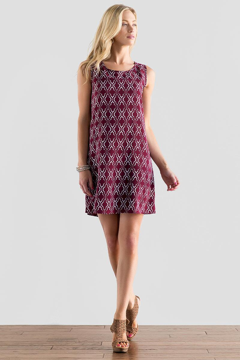 Victory Printed Dress in Maroon-  burg-cl