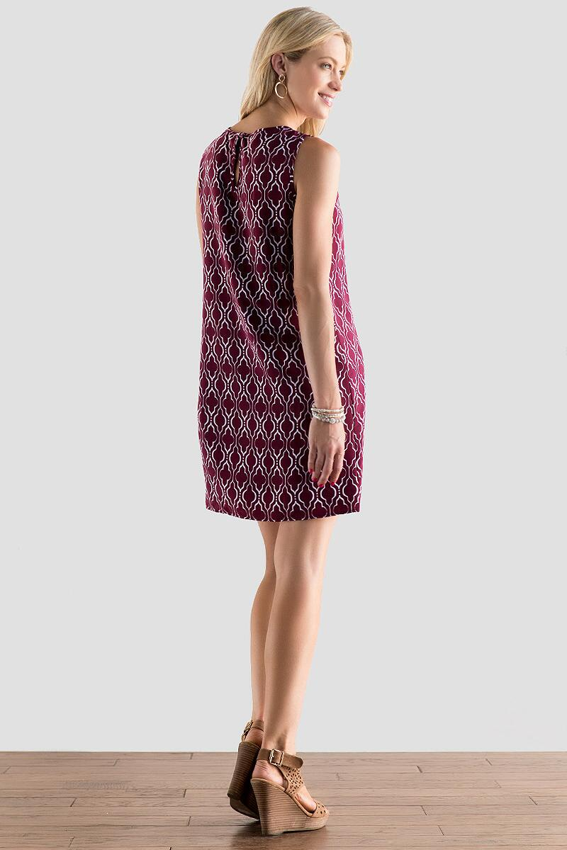 Victory Printed Dress in Maroon-  burg-clback