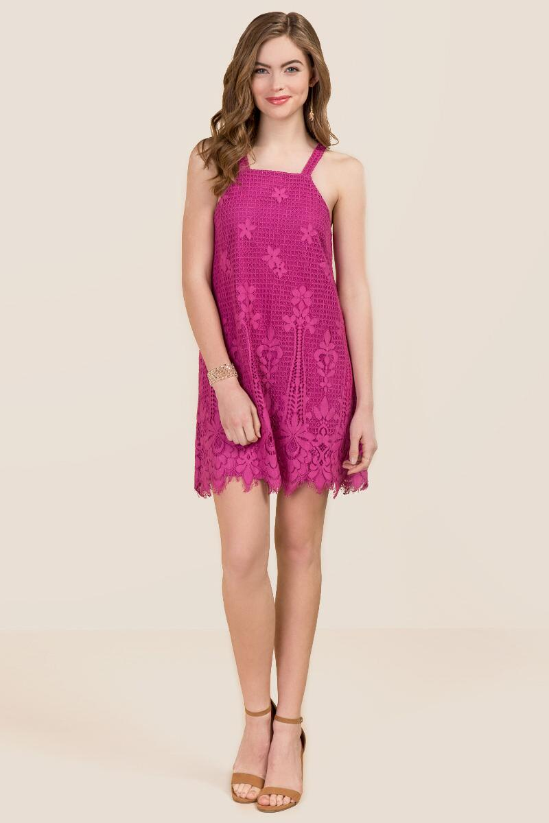 Toni Floral Lace Net Shift Dress-  npink-clmodel