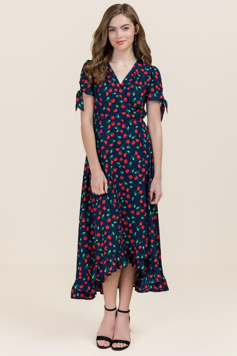 Cherry Ruffle Wrap Maxi Dress-  navy-cl