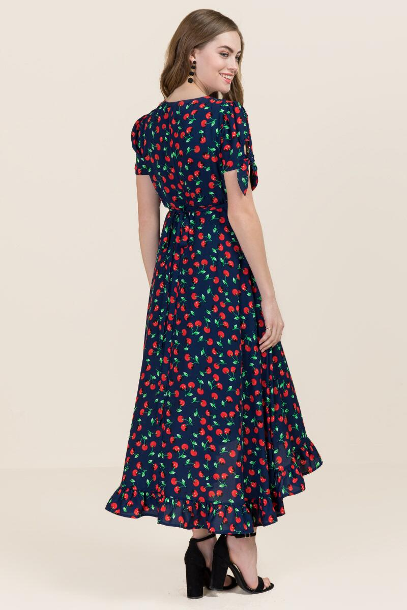 Cherry Ruffle Wrap Maxi Dress-  navy-clback