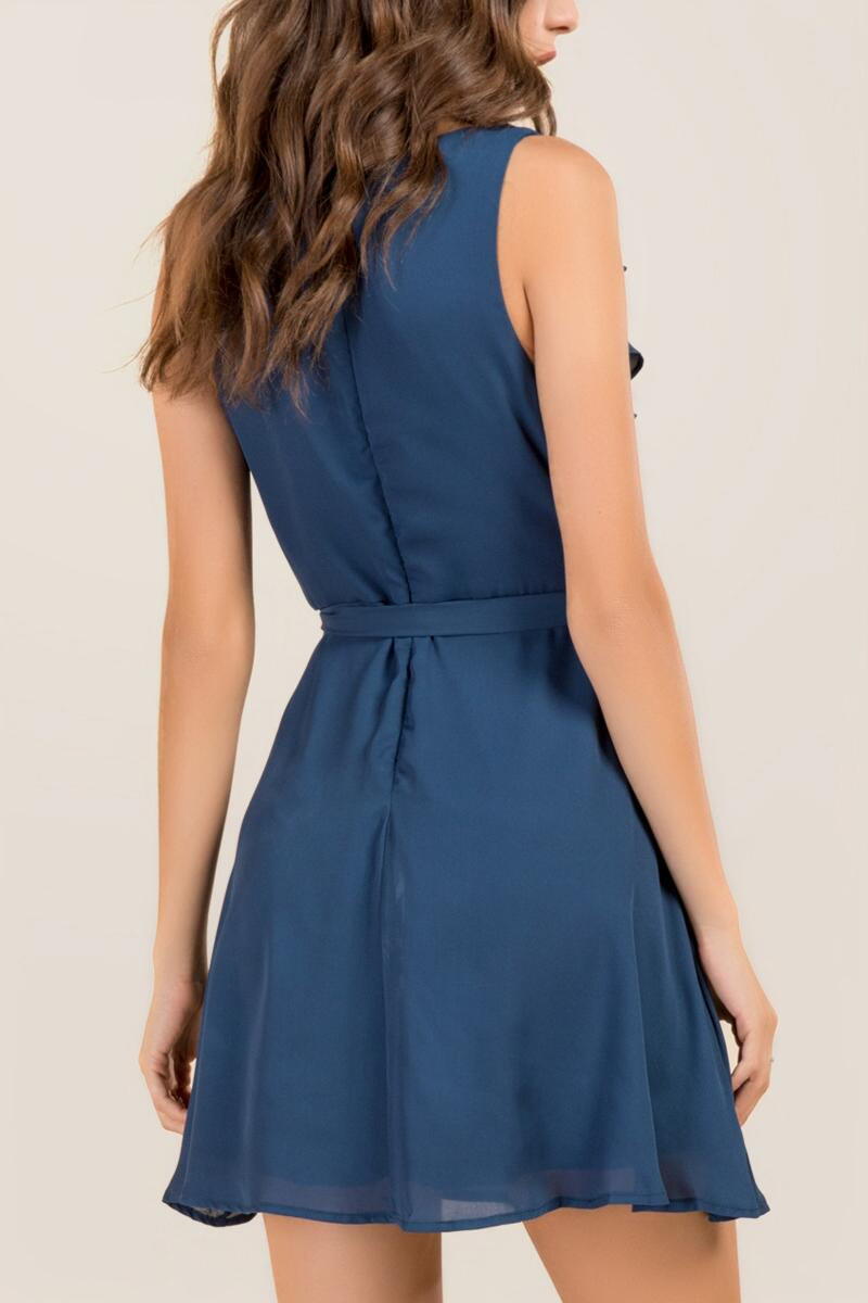 Cecilia Ruffle Wrap Dress-  pcock-clback