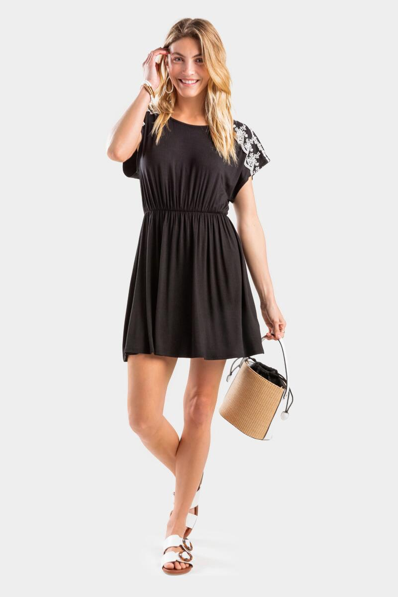 Faely Lace Sleeve Dress-  blk-cl