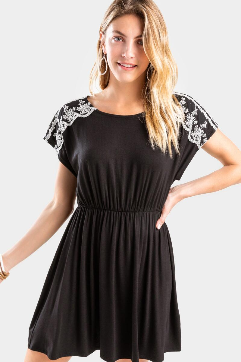 Faely Lace Sleeve Dress-  blk-cl3