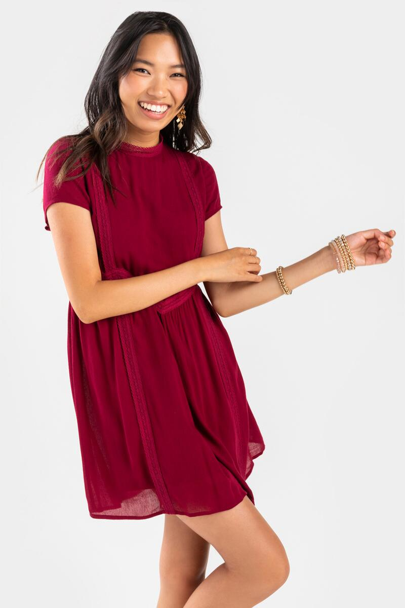 Gerry Crochet Trim Shift Mini Dress- Burgundy