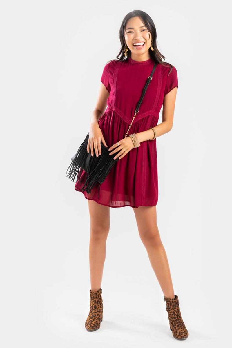 Gerry Crochet Trim Shift Mini Dress- Burgundy 2