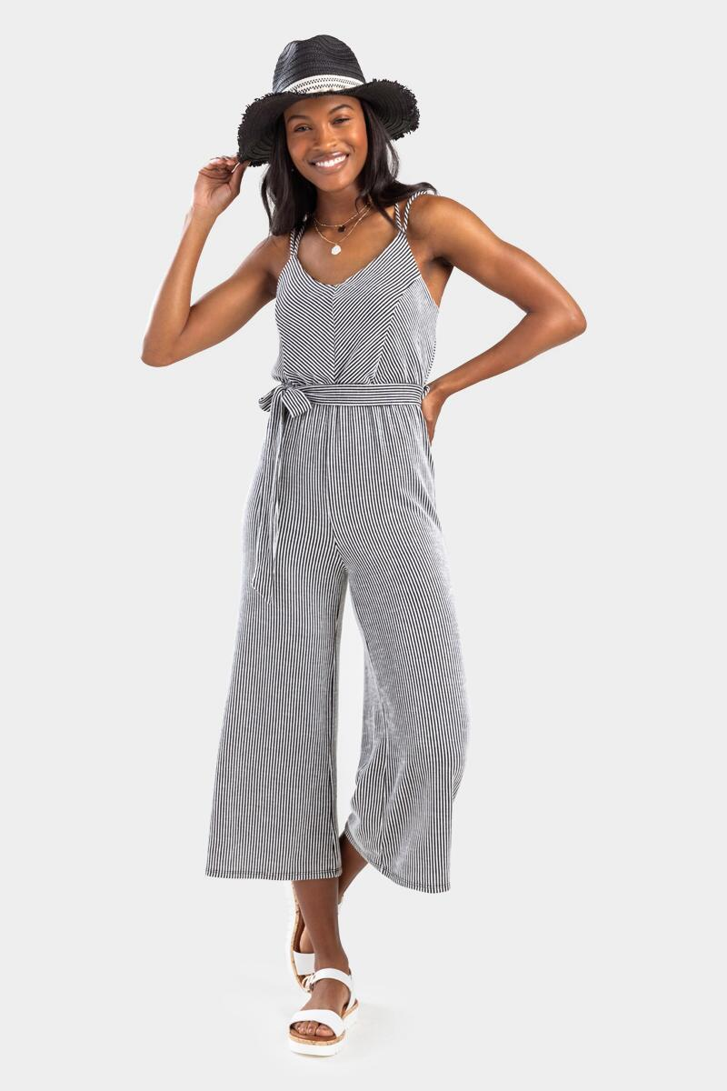 Avelle Striped Side Knot Jumpsuit-  bkw-cl