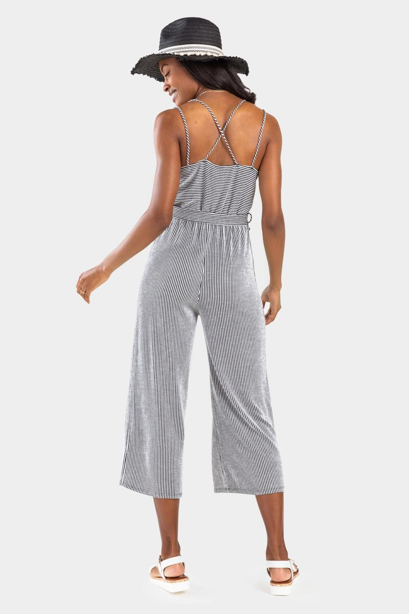 Avelle Striped Side Knot Jumpsuit-  bkw-cl2