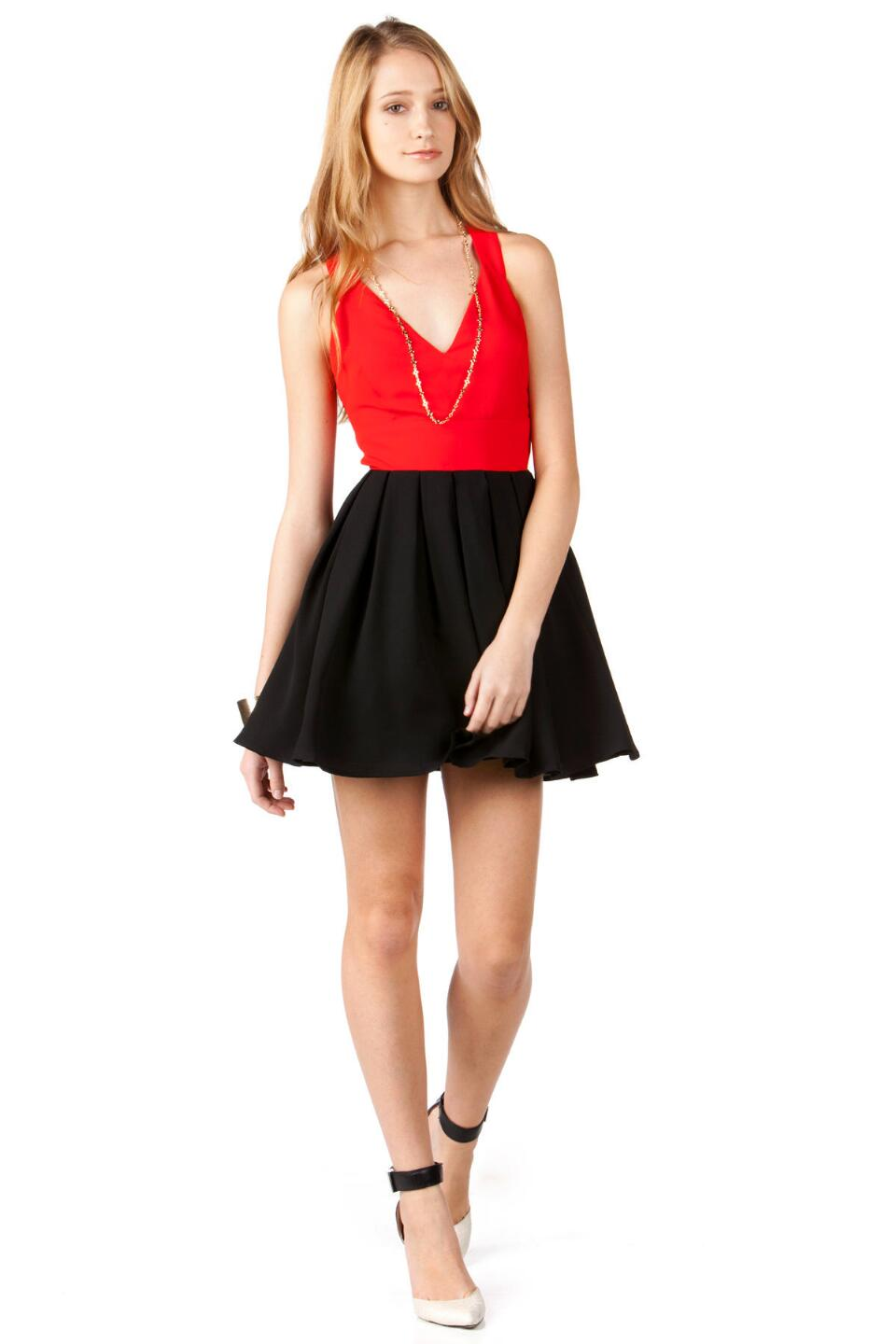 Wilmington Bow Dress -  red-clmodel