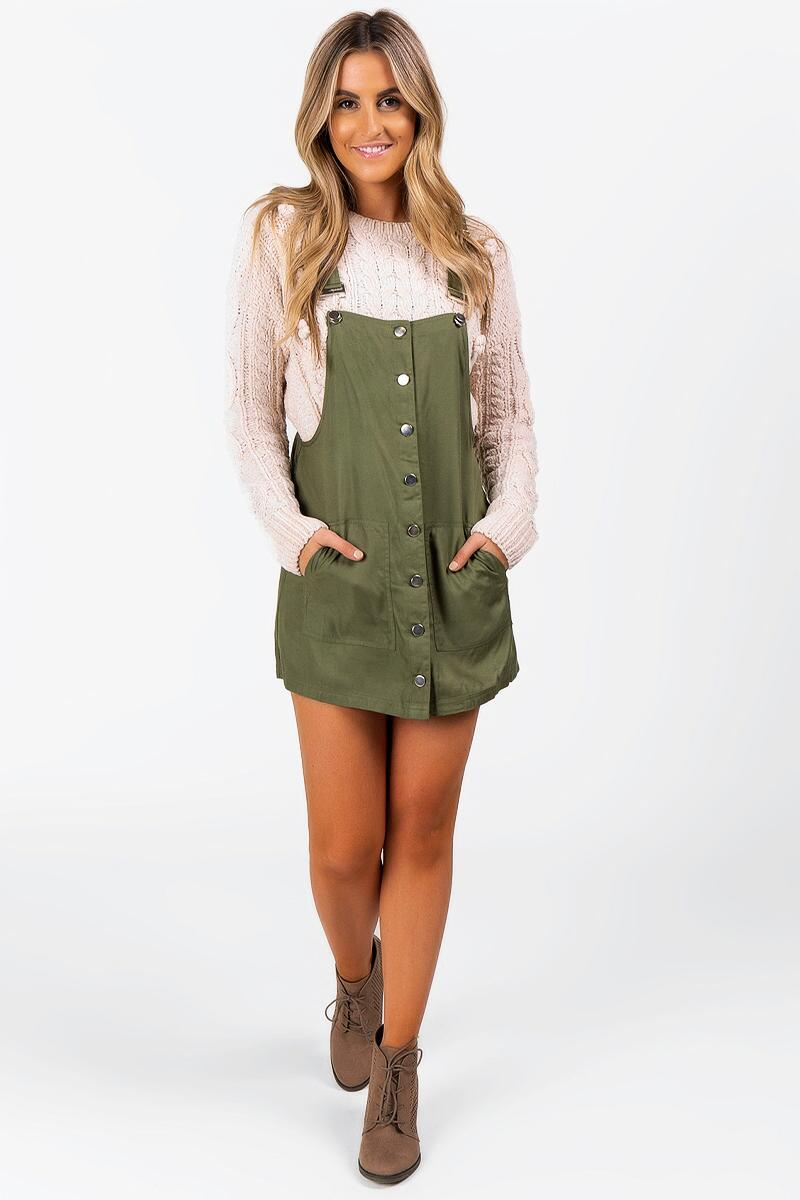 Harleen Button Front Overall Dress