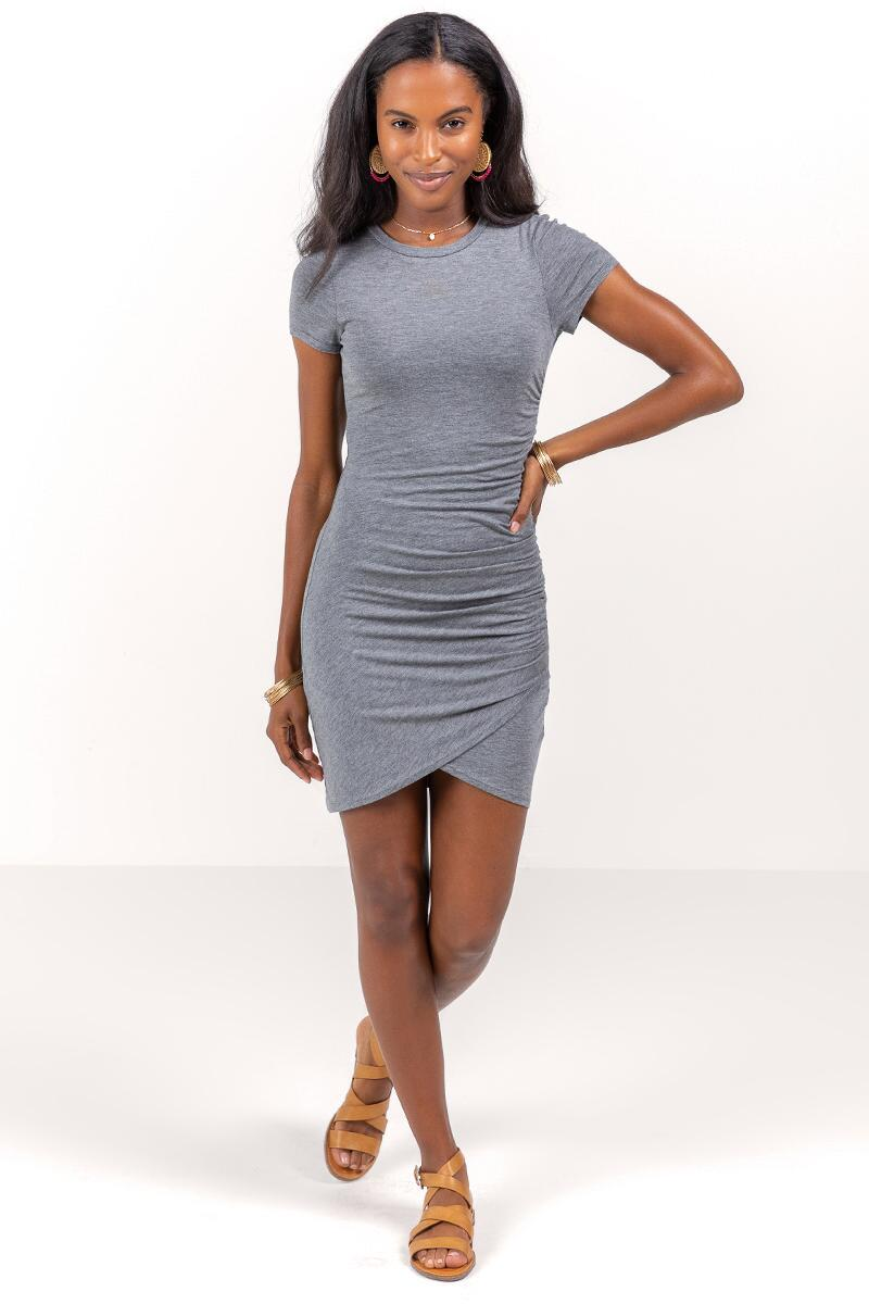 Neela Side Ruched Dress-Heather Gray 4