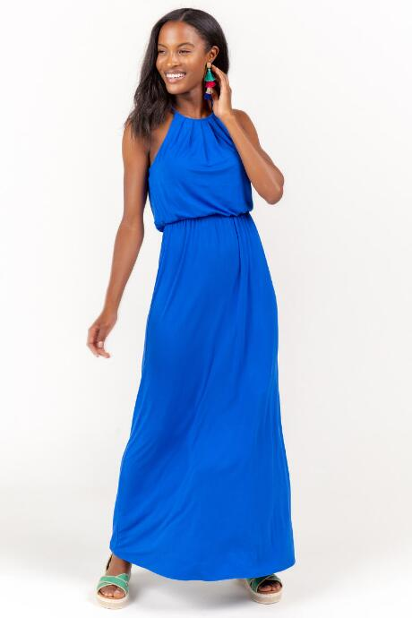 Flawless Knit Maxi Dress in Blue
