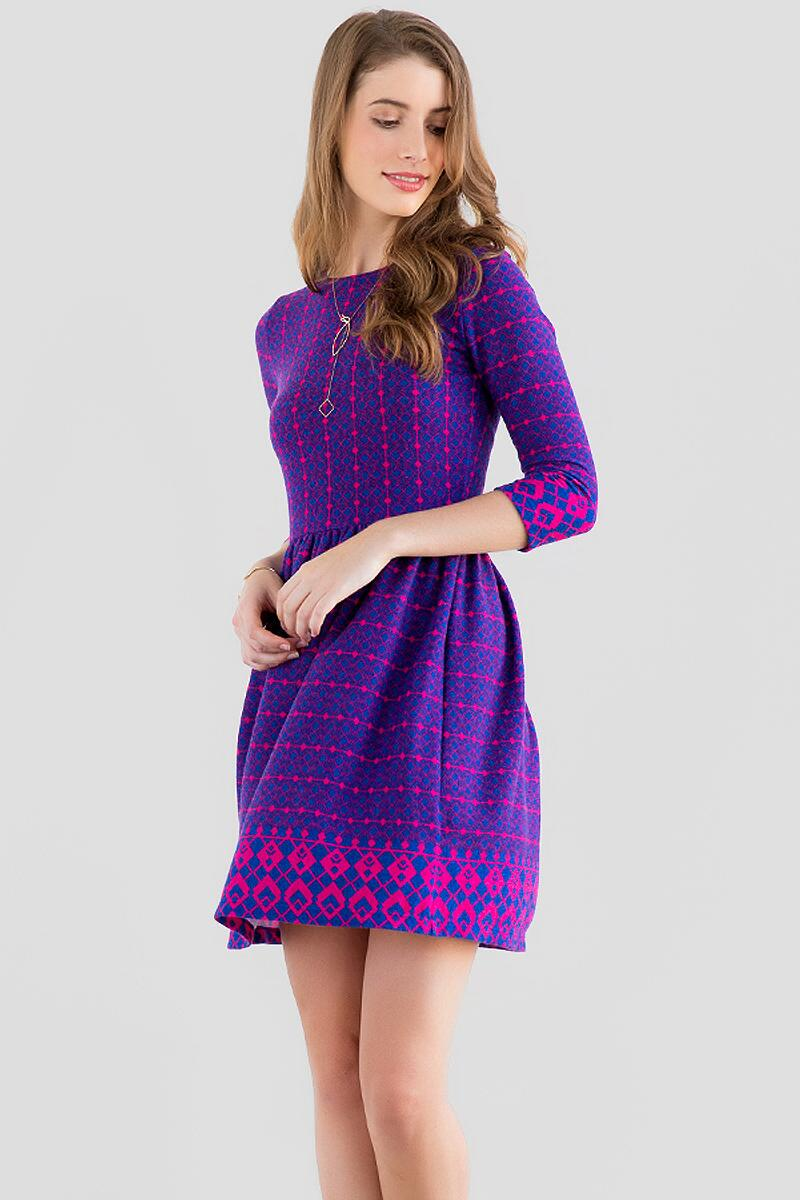 Dunellen Printed Sweater Dress