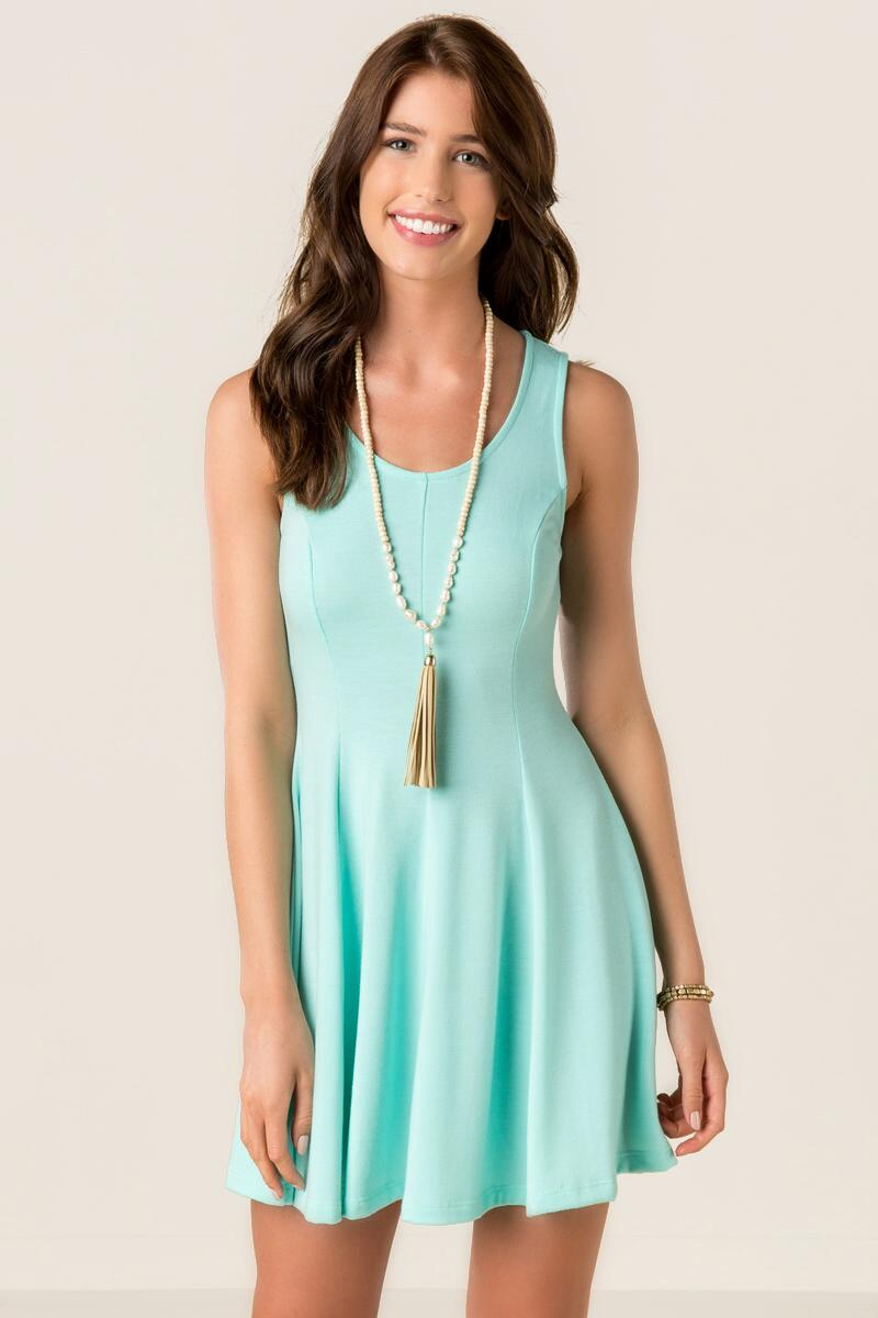 Rena Solid Knit Dress-  mint-cl