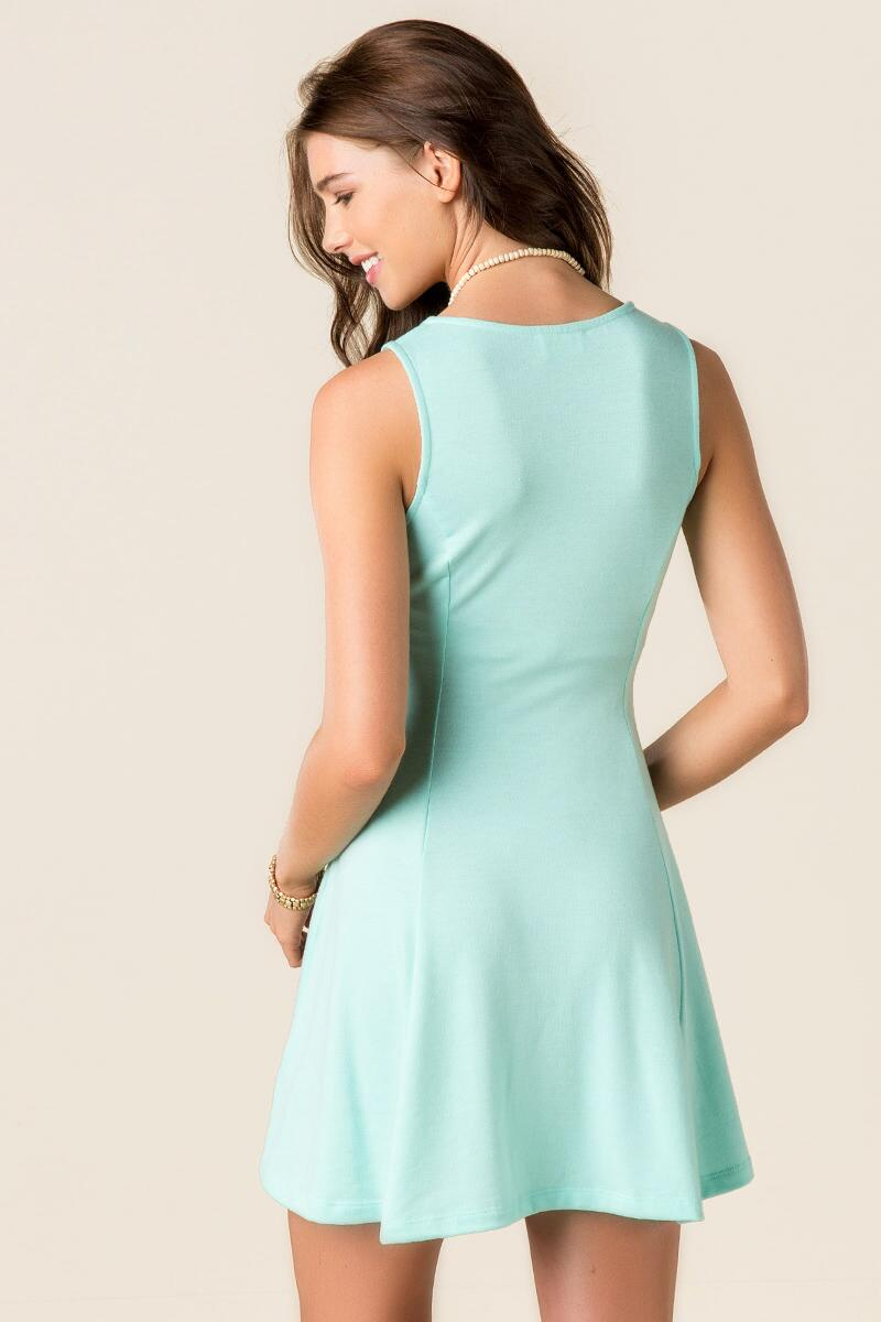 Rena Solid Knit Dress-  mint-clback