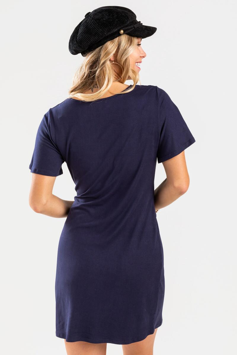Kamren Front Tie Knit Mini Dress-Navy 3