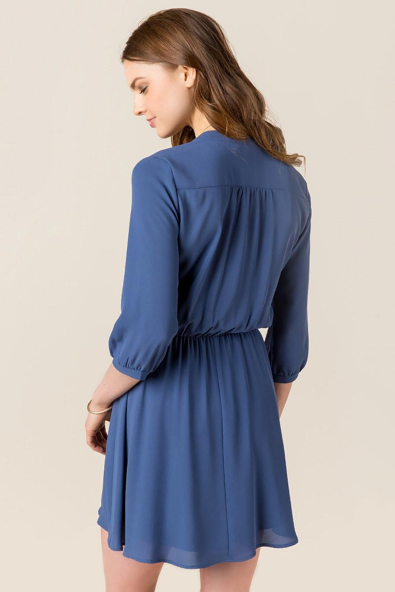 Lush Farrah Solid Shirt Dress-  indg-clback