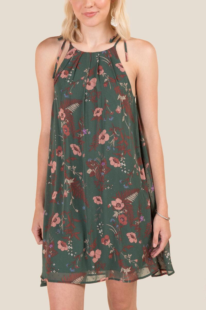 Delaney Floral Shift Dress-  dkolv-cl