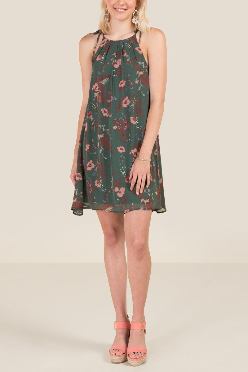 Delaney Floral Shift Dress-  dkolv-clmodel