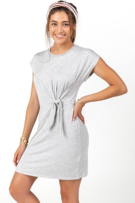Maddox Stripe Tied Waist Dress
